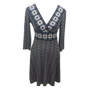 Maggy London 6 Dress Stretch Knit Fit Flare Midi